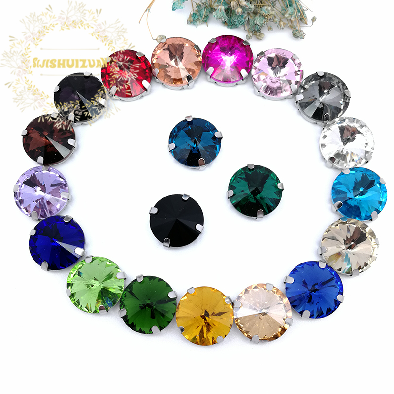 Free Shipping! Mix Color Round Shape Glass Crystal Sew On Rhinestones With Four Claw Diy Wedding Decoration