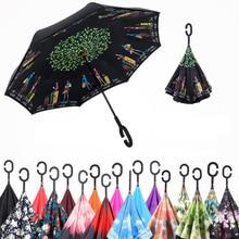 Перевернутый зонтик дождь Для женщин Для мужчин Paraguas двойной Слои обратный Зонт мужской Guarda Chuva invertido автомобиля трость Зонты