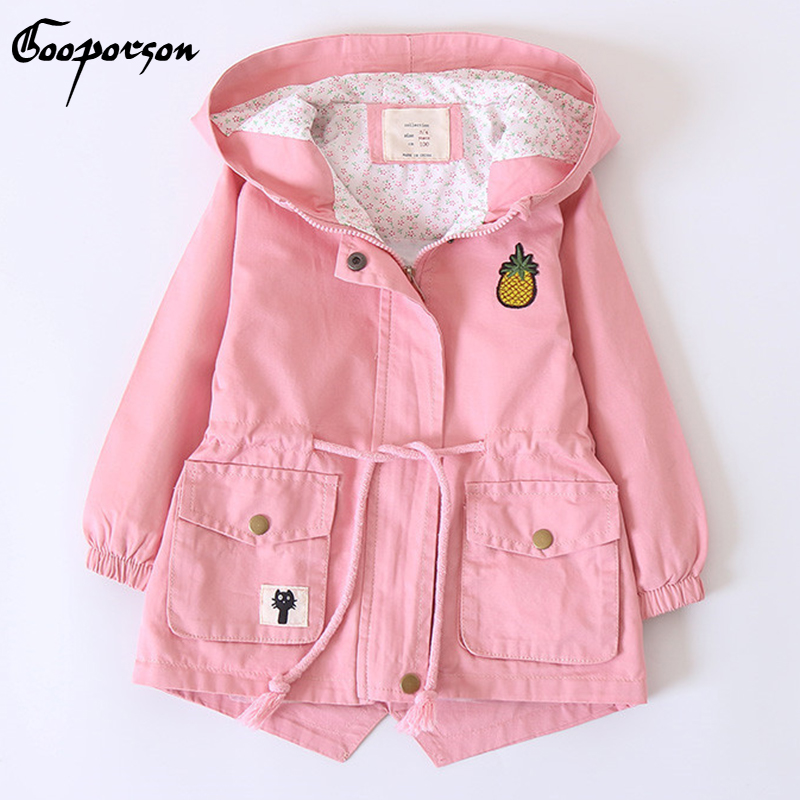 Girls Jacket Long Sleeve Hoody Jacket for Baby Children Clothing Outerwear Fashion Hooded Coat Winter Pineapple Coats