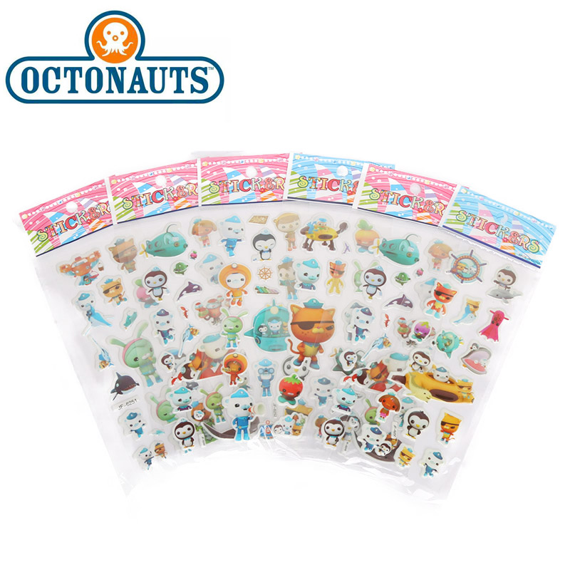 6pcs Octonauts Toys Stickers Car Movie Octonauts Barnacles Peso PVC Waterproof Sticker For Children Room Party Supplies