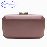 Royal Nightingales Elegant Hard Box Clutch Silk Satin Evening Bags for Matching Shoes and Womens Pink/Black/Red/DarkGreen/Purple