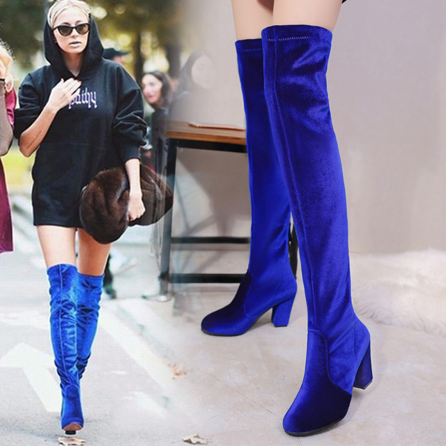 2018 Bahar Kadın Yüksek Topuk Çizmeler Kadın Çizmeler Diz Üzerinde Platform Kadife lastik çizmeler Yuvarlak Ayak Kadın Ayakkabı Bayan Bot