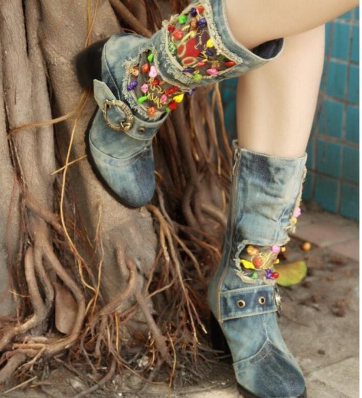 KNCOKAR/2018 г. Новая парусиновая обувь высокие сапоги на высоком каблуке с боковой молнией джинсовые Ботинки martin на толстой подошве с нескользящ... - 6