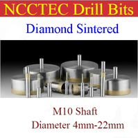 M10 Shaft 4mm 22mm Diamond Sintered Drill Bits FREE Shipping WET Glass Hole Saw Cutter