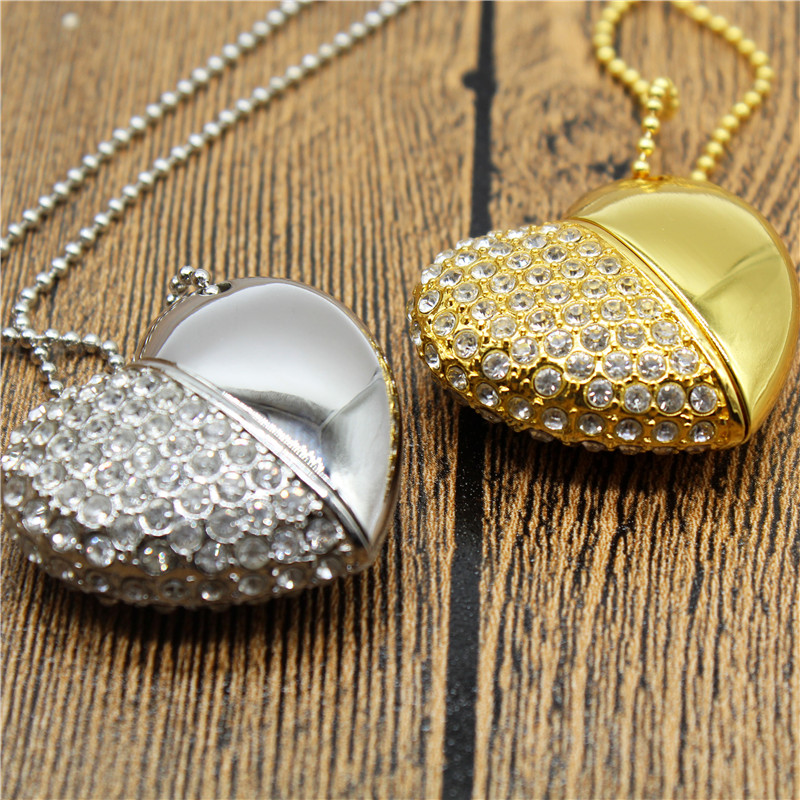 TEXT ME  Beautiful Gold Silver Crystal Heart Love Usb 2.0 Usb Flash Drive4GB 8GB 16GB 32GB Pendrive Give Gril Gift