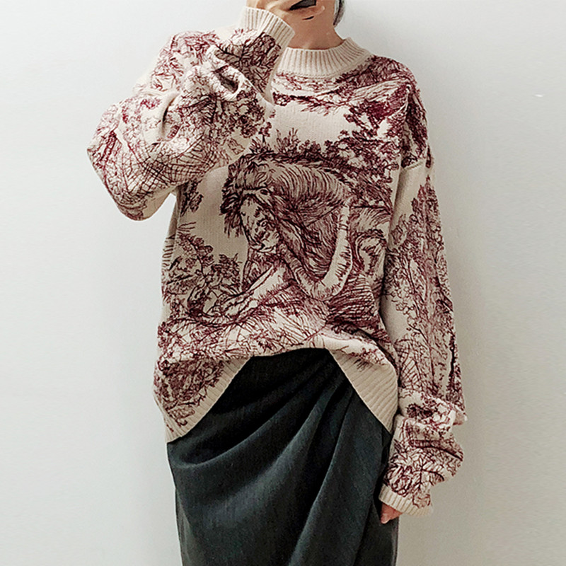 Women Pullover Sweaters 2019 Runway pullover Fashion forest tiger Embroidery Women s sweater Loose Knitted jumper