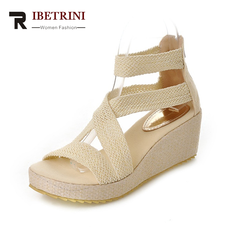 RIBETRINI Summer Elegant Cover Heel Women Sandals Big Size 34-43 Breathable Shoes Woman Comfort Platform High Wedges Footwear ribetrini women hot sale cow leather low heel wedges summer casual shoes woman ankle strap open toe platform sandals size 34 39