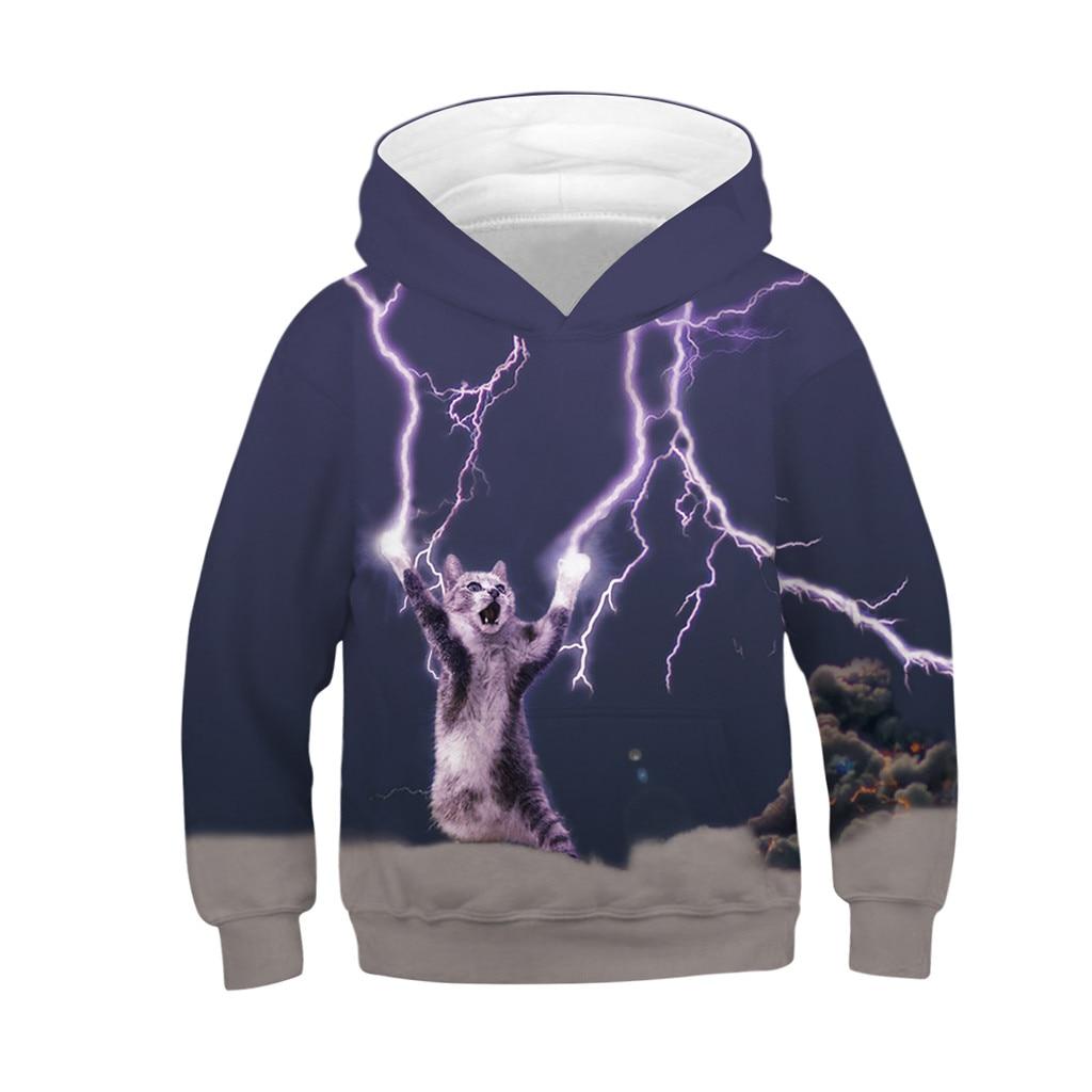 100% Wahr Teen Kinder Mädchen Junge Katze Fleece Druck Cartoon Sweatshirt Tasche Pullover Hoodie Kinder Hoodies Baby Mädchen Kleid