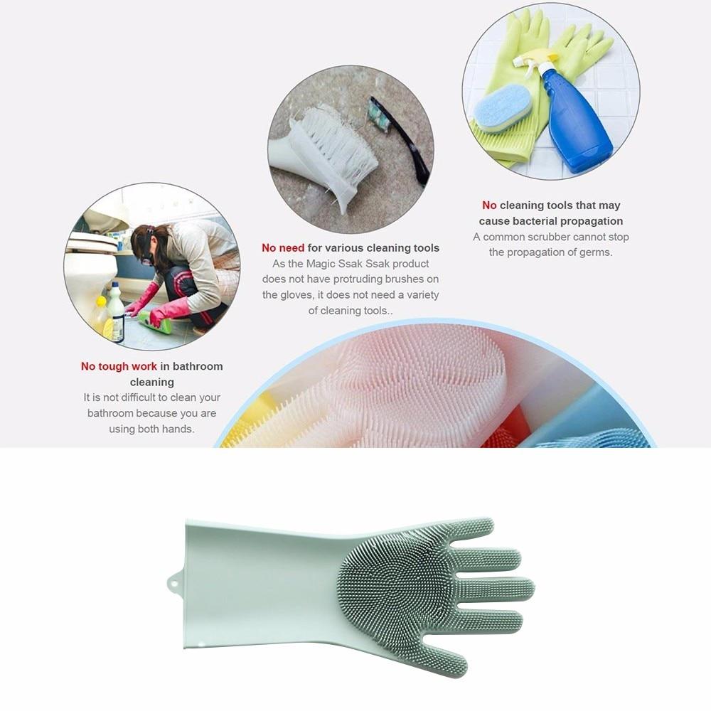 Food Grade Dishwashing Gloves Magic Rubber Silicone Dish Washing Gloves And Kitchen Scrubber 16