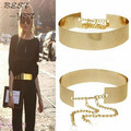 2016 Women Waist Belt Metallic Gold Plate Wide Cummerbunds Punk Full Metal Mirror Surface With Chains Lady Fashion Style