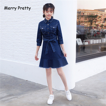 Merry Pretty Women Solid Denim Dress 2019 Autumn Long Sleeve Turndown Collar Pockets Mini A-Line Dresses Casual Jeans