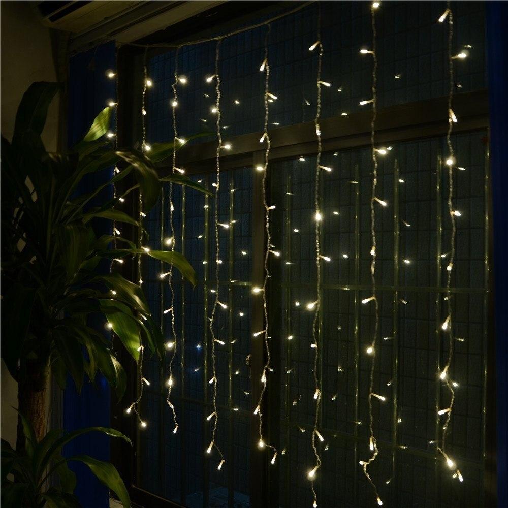 3.5 М x 0.6 М LED Открытый Домашний Праздник Рождество Украшения xmas Строка Фея Свадебное Занавес Гирлянды Полосы Света AC110/AC220V