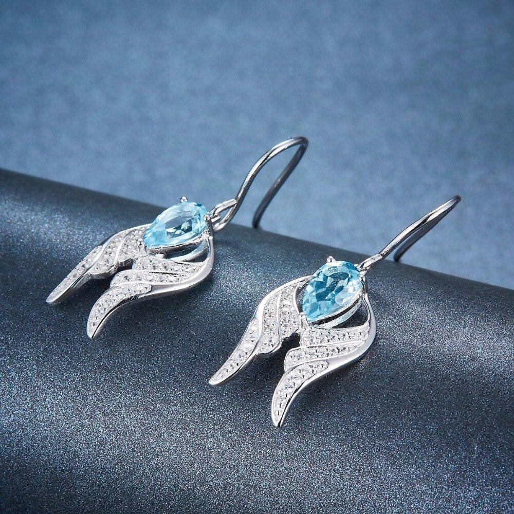 Hutang Natur Sky Blue Topaz Braut Schmuck Sets Solide 925 Sterling Silber Flügel Anhänger Ohrringe Edelstein Feine Mode Schmuck Edler Schmuck Schmucksets