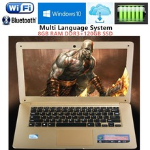 8GB RAM+120G SSD 1920X1080P 14.1inch ultrabook laptop computer Intel N3520 Duad-core 2.16GHz WIFI Win10 laptop notebook Free DHL