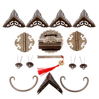 DRELD Chinese Decorative Hardware for Furniture Wooden Box Buckle Hasp Latch Lock+ Hinge+Corner Protectors+Handle +Washers+Pins