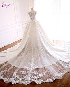 Image 2 - Luxury Mesh GORGEOUS Beadings and Grid element Elegant Lace Waulizane  Wedding Dresses O Neckline Bride Dresses