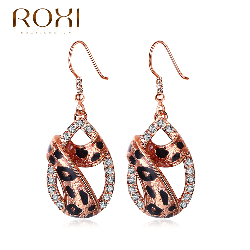 ROXI Brand Earrings For Women Water Drop Leopard Pattern Inlaid CZ Earring  Rose Gold And White Color For Wedding Vacation Gift-in Drop Earrings from  Jewelry ... b8449086d6