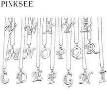 PINKSEE женские серебряные Разноцветные кристаллы, стразы A-Z буквы Шарм начальный Алфавит кулон цепи аксессуары для изготовления украшений