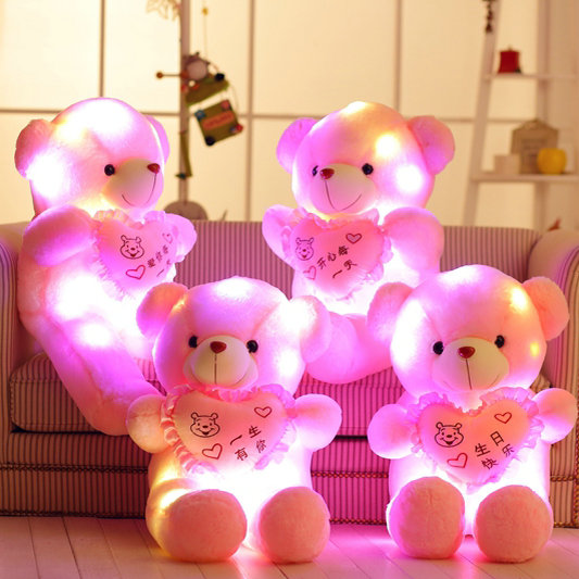 80cm Drop shipping Colorful LED Glowing heart Bear Stuffed Animal Light Up Bear Plush Toys Doll Kids Christmas Birthday Gift