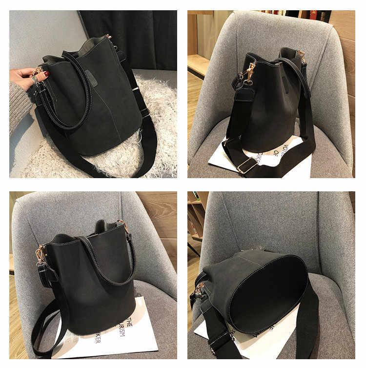 Saco do mensageiro das mulheres balde bolsa de ombro grande capacidade do vintage fosco couro pu senhora bolsa designer luxo bolsos mujer preto