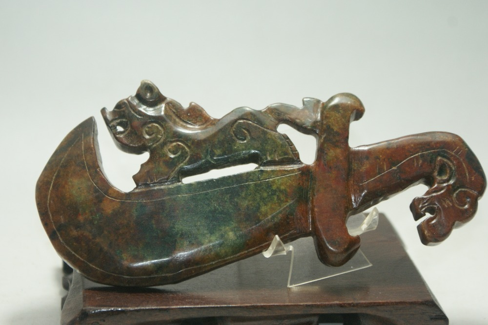 Chinese old jade hand carved Decorative Dragon Tiger knife Ancient sculpture