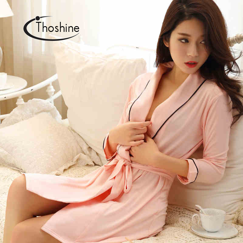 Image 3 - Thoshine 2019 Spring Summer Autumn Women Chinese Silk Satin Robes Female Superior Bath Robes Lady Nightshirt Girl Home Sleepwear-in Robes from Underwear & Sleepwears