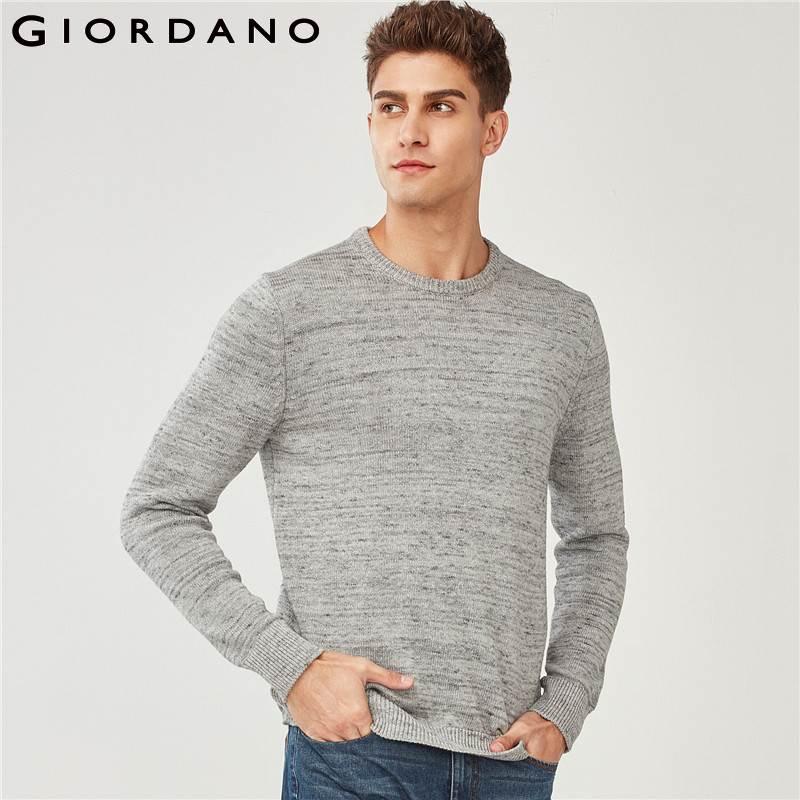 Giordano Hommes Chandail Hommes Épais 100% Coton Ras Du Cou Pull Chandail Couleur de Bruyère 7-aiguille À Tricoter Maglione Uomo
