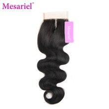 Mesariel Бразильский средняя часть застежка-Реми волос натуральный черный Цвет человеческих волос Бесплатная доставка тела волна закрытия кружева