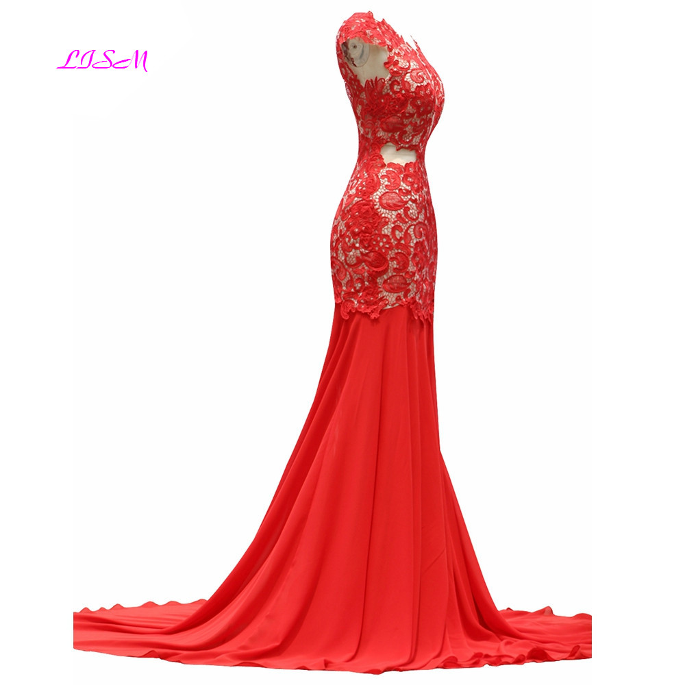 Real Photos Mermaid Evening Dresses 2019 vestido de festa Cap Sleeves Appliques Party Dress Sexy Backless Long Formal Gowns