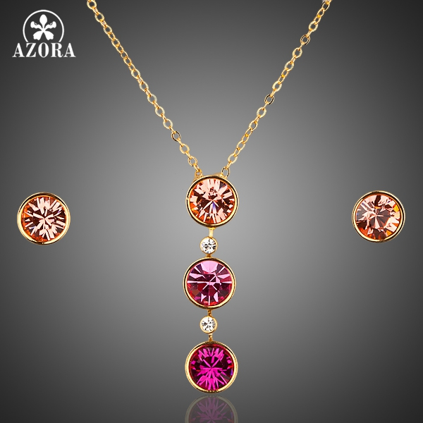 AZORA Gold Color Round Stellux Austrian Crystal Hoop Earring and Pendant Necklace Set TG0010
