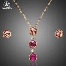 Azora stellux austríaco oro redondo color crystal pendiente de arete y collar colgante conjunto tg0010
