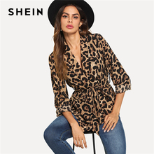 SHEIN Multicolor Highstreet Office Lady Shawl Collar Belted Leopard Print Elegant