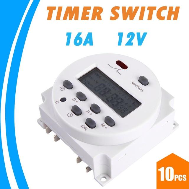 10pcs cn101a 16a 12v dc input digital timer switch lcd display rh aliexpress com Electronic Timer Switch GE Time Switch 15132