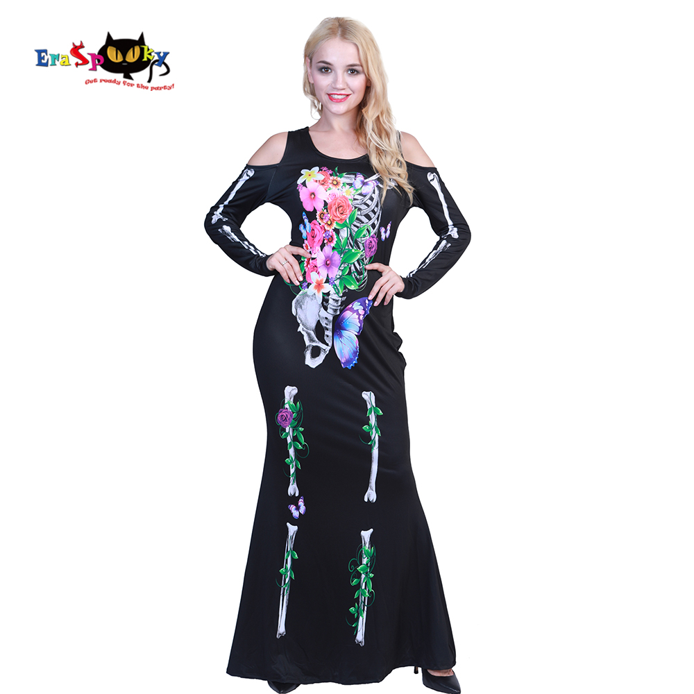 Eraspooky Halloween Costume For Adult Skeleton Cosplay Off The Shoulder Fantasia Long Black Dress Women Beautiful Bones Costume