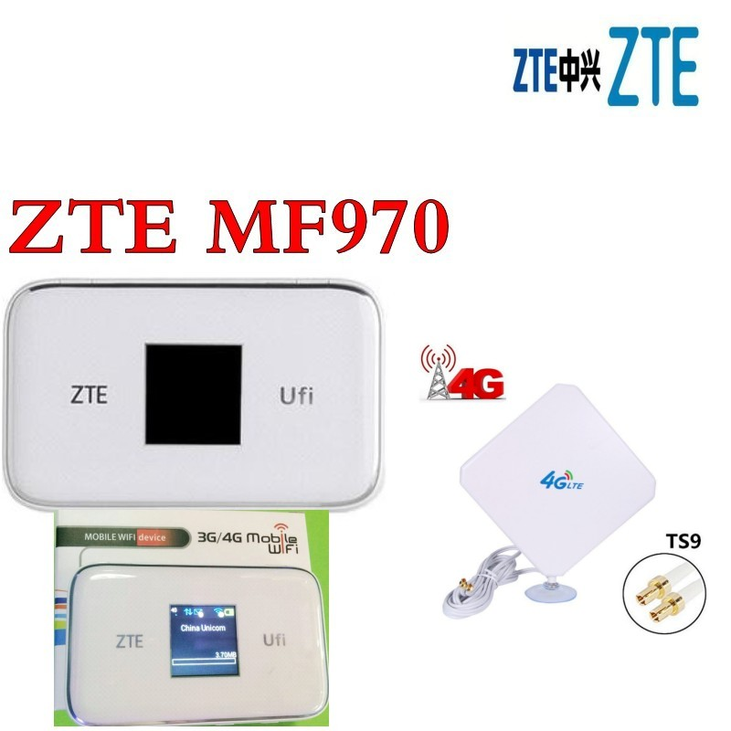 unlocked ZTE UFi MF970 LTE pocket 300mbps 4g dongle Mobile Hotspot 4g Cat6 Mobile WiFi router plus 4g antenna