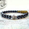 2015 New Original design Silver Gold Buddha head with Natural hematite bead Men Women bracelet