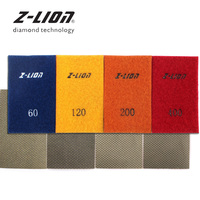 Z LION 4pcs Diamond Polishing Sheets Hook & Loop Back Diamond Sanding Paper Electroplated Sandpaper for Marble Granite Concrete