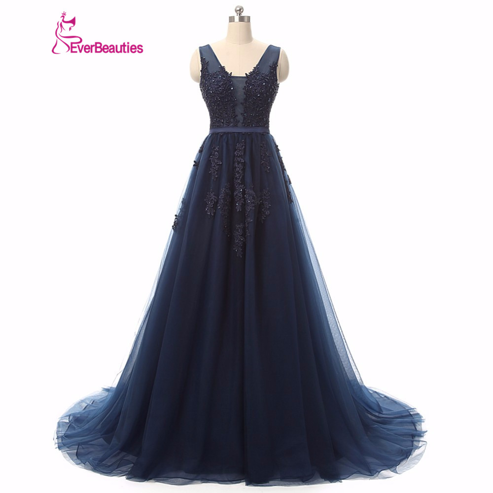 Bridesmaid dresses long v neck tulle appliques pink navy for Long navy dress for wedding
