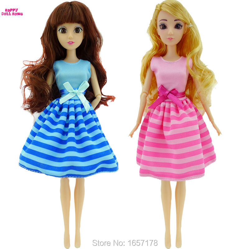 Free Shipping Handmade 2 Set Cute Fashion Pink & Blue Dress Clothes Outfit For Barbie Doll Accessories Girl' Gift Toys karmart cathy doll 2 in 1 vitamin c tint tinted gluta gloss pink lip korea free shipping