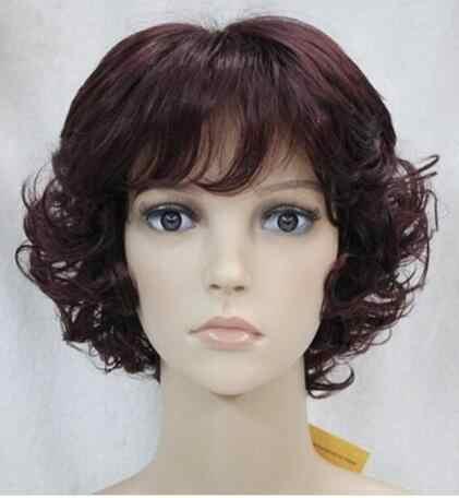 Парик Новый парик короткий винный красный смешанный женский полный кудрявый парик новые волосы женский парик Бесплатная доставка
