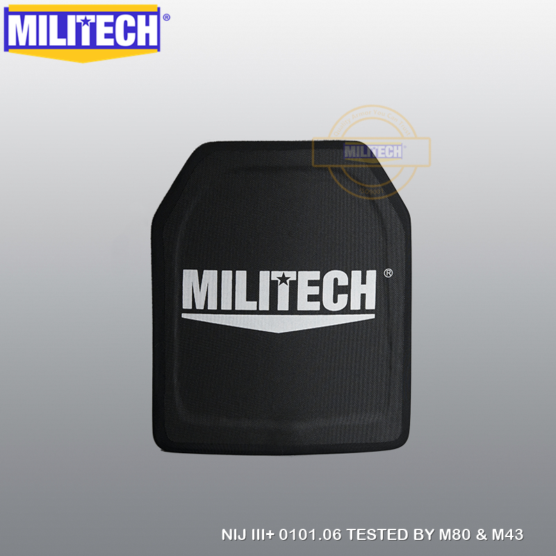 MILITECH 10x12 inch 100% PE NIJ nivel III + Placă antiglonț NIJ 3 Plus 3+ Panou balistic PE pur M80 și AK47 Armor pentru corp