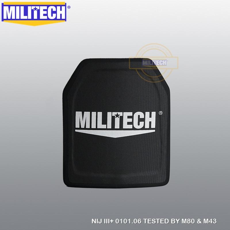 MILITECH 10x12 인치 100 % PE NIJ 레벨 III + 방탄 플레이트 NIJ 3 플러스 3 + 순수 PE 탄도 패널 M80 및 AK47 갑옷 패널