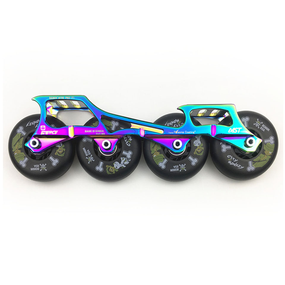 243mm Frame & 4 * 80mm 85A Wheels & Bearings for Inline Slalom Slide Free Skating Skates Base for Adult Kids Skates Basin DJ64 slalom fsk inline skates patines for adults daily skating sports with 85a pu wheels abec 7 bearing aluminium alloy frame base
