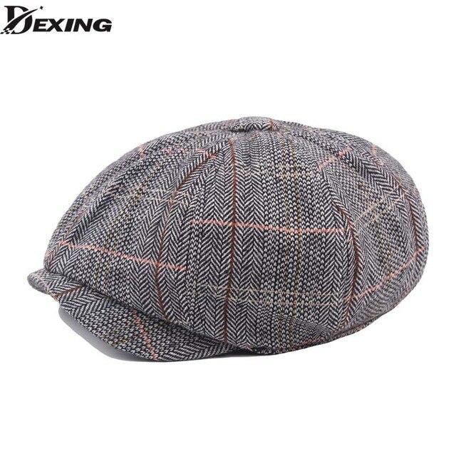 420d1f7ed60 Plaid Patterns Men S Beret Gentlemen Retro Newsboy Caps peaky blinders hat  Casual Flat Hats Octagonal Cap Boinas Para Hombres