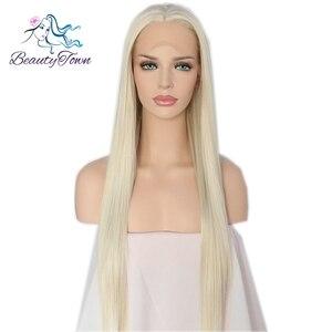 Image 3 - BeautyTown 手縛らライトブロンドカラーロングストレート耐熱毛女性の結婚式合成レースフロントウィッグ