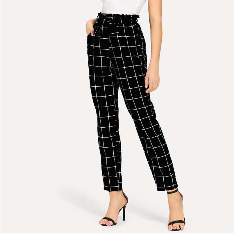 Casual Plaid Pants Women Elastic Waist Pants Women High Waist Bandage Trousers Pencil Pants Calca Feminina Wholesales #F#40SR706