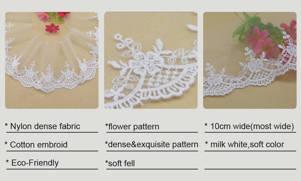 ⑧10 cm ancho blanco encaje de algodón bordado de encaje francés ...