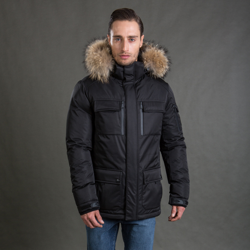 HERMZI 2019 Winter Jacket Men Parka Thick Padded Coat Thinsulate Jacket Detachable Hood Raccoon Fur European Size Free Shipping in Parkas from Men 39 s Clothing