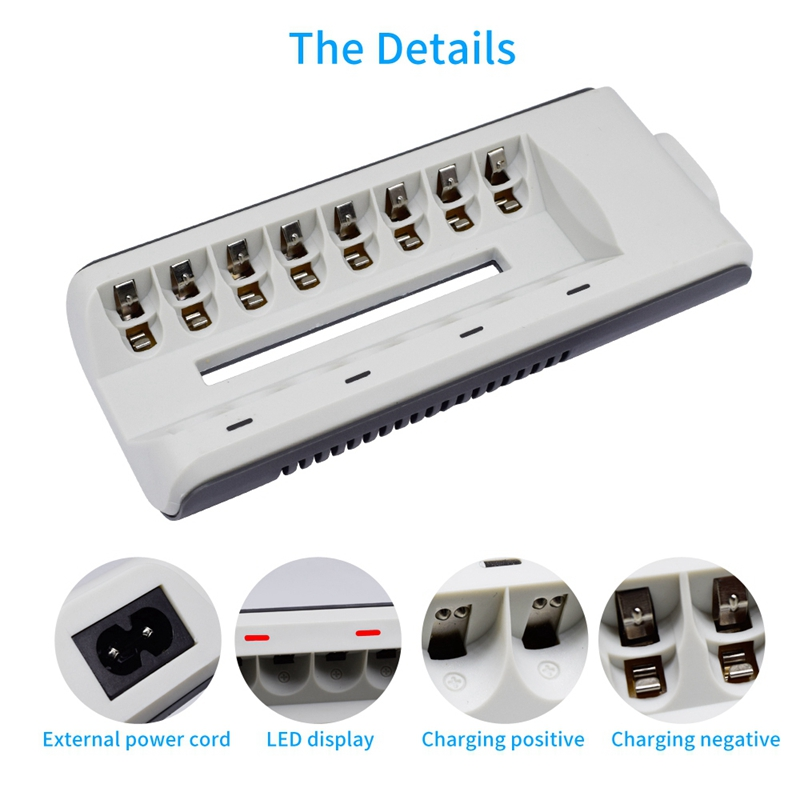 Quick Charger 8 Slots Smart Battery Charger For Aaa Aa Rechargeable Battery 1 2V Ni Mh Ni Cd Aa Aaa Rechargeable Batteries Eu in Battery Accessories Charger Accessories from Consumer Electronics