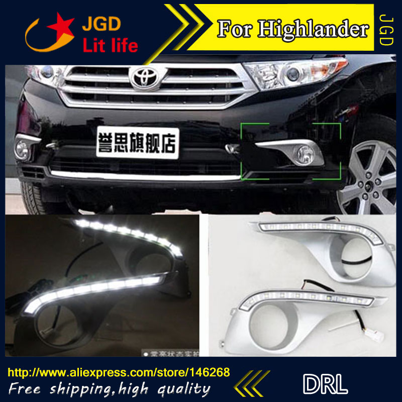hot sale ! 12V 6000k LED DRL Daytime running light for Toyota Highlander 2012-2013 plating fog lamp frame Fog light daytime running light for toyota highlander 2011 2012 2013 with amber turn signals light